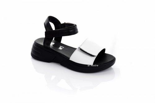 Босоніжки жіночі Ladi 7922 (літо, білий-чорний, шкіра)
