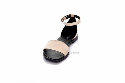 Босоножки женские Vlamax 7925 (лето, бежевый-черный, кожа)