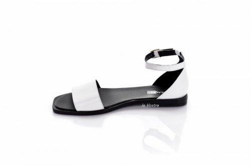 Босоножки женские Vlamax 7924 (лето, белый-черный, кожа)