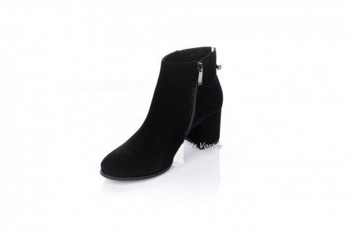Ботинки женские Style-N 7004 (весенне-осенние, черный, замш)