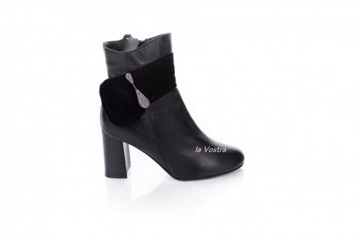 Ботинки женские Днепр 2722 (весенне-осенние, черный, кожа)