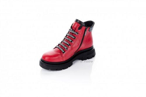 Ботинки женские Maria Sonet 6919 (зимние, красный, кожа)