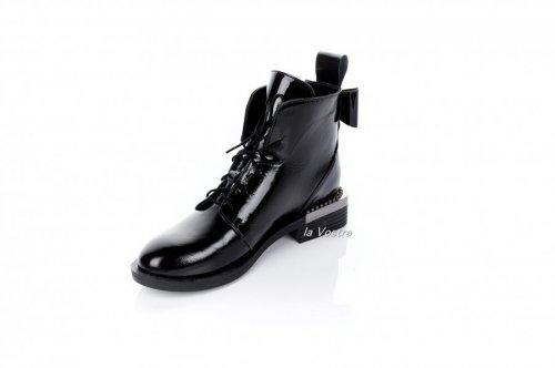 Ботинки женские Liliya 7055 (весенне-осенние, черный, наплак)