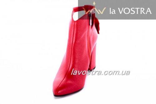 Ботинки женские Style-N 7050 (весенне-осенние, красный, кожа)