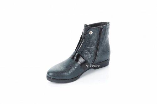 Ботинки женские Днепр 7362 (весенне-осенние, т.никель, кожа)