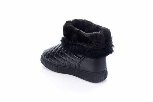 Дутики женские  7457 (зимние, черный, эко-кожа)