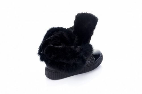 Дутики женские  7458 (зимние, черный, эко-кожа)