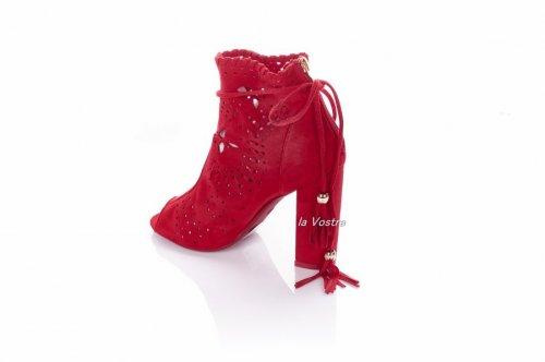 Сапоги-босоножек женские Seastar 5914 (лето, красный, эко-замш)