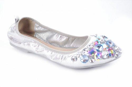 Балетки женские Seastar 5938 (весна-лето-осень, серебро, текстиль)