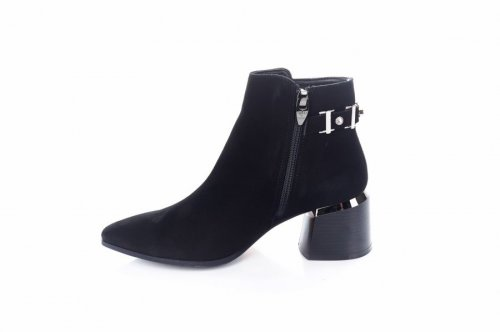 Ботинки женские Modena 7358 (весенне-осенние, черный, замш)