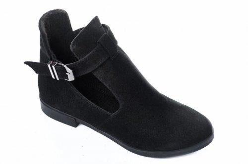 Ботинки женские Днепр 5718 (весенне-осенние, черный, замш)