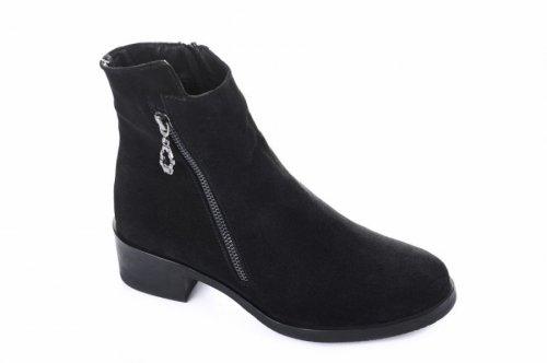 Ботинки женские Днепр 5494 (весенне-осенние, черный, замш)