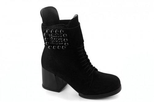 Ботинки женские Днепр 5187 (зимние, черный, замш)