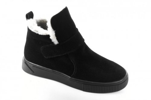 Ботинки женские Днепр 6820 (зимние, черный, замш)