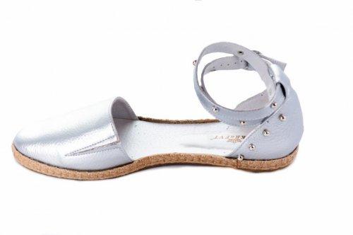 Балетки женские Днепр 2209 (лето, серебро, кожа)