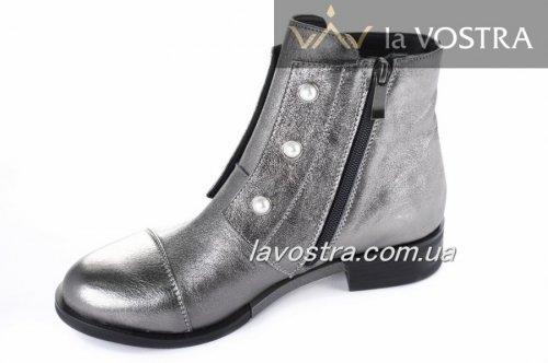 Ботинки женские Днепр 2674 (весенне-осенние, серебро, кожа)