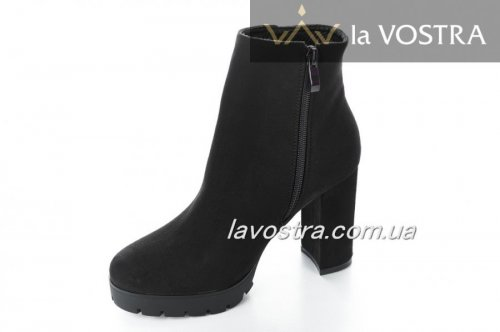 Ботинки женские Seastar 5361 (весенне-осенние, черный, эко-замш)