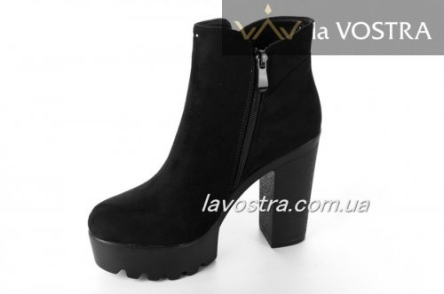 Ботинки женские Weide 6597 (весенне-осенние, черный, эко-замш)