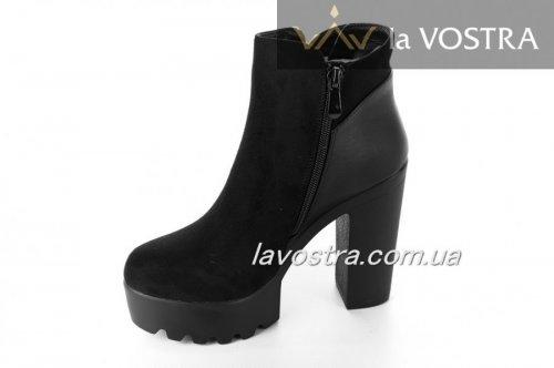 Ботинки женские Weide 6598 (весенне-осенние, черный, эко-замш)