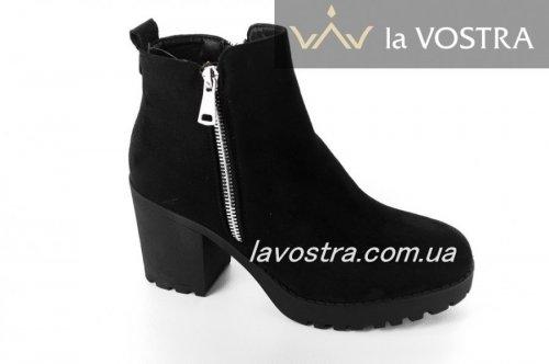 Ботинки женские Seastar 6601 (весенне-осенние, черный, эко-замш)