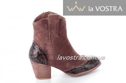 Ботинки женские Small Swan 6623 (весенне-осенние, коричневый, эко-кожа)