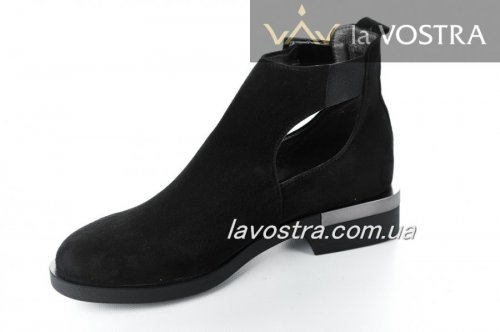 Ботинки женские Esve stule  6610 (весенне-осенние, черный, замш)
