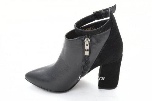 Ботинки женские Днепр 85673КК (весенне-осенние, черный, кожа-замш)