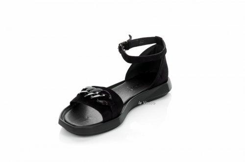 Босоножки женские Ladi 7858 (лето, черный, замш)