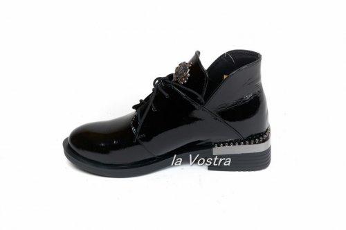 Ботинки женские Днепр 535лк (весенне-осенние, черный, лак)