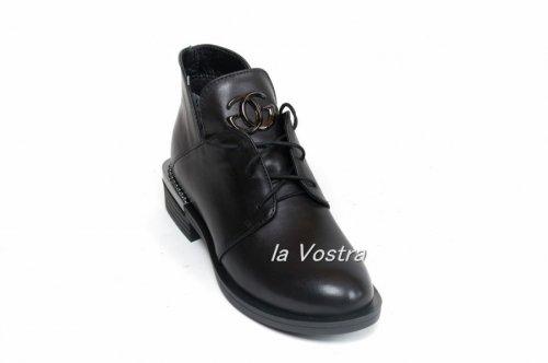 Ботинки женские Днепр 5531 (весенне-осенние, черный, кожа)