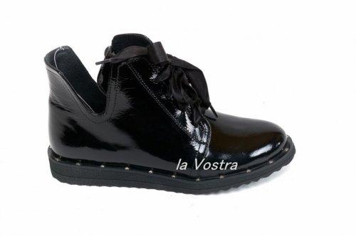 Ботинки женские Днепр 585L (весенне-осенние, черный, наплак)