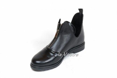 Ботинки женские Днепр 023A (весенне-осенние, черный, кожа)