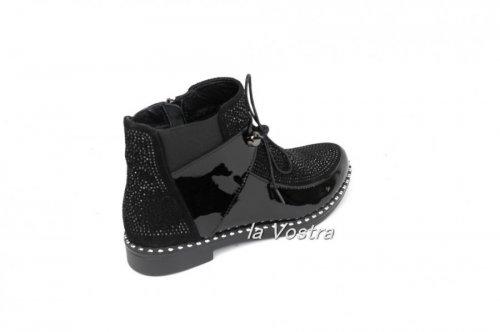 Ботинки женские Olevit T210л (весенне-осенние, черный, лак)