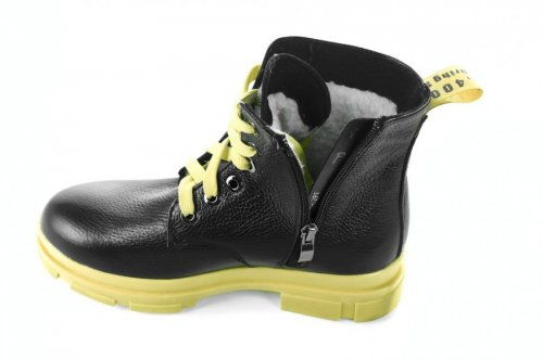 Ботинки женские Днепр 6768 (зимние, желтый, кожа)