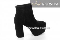 Ботинки женские Seastar 6712 (весенне-осенние, черный, эко-замш)