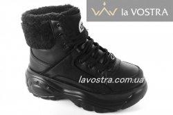 Кроссовки женские G-style 6776 (зимние, черный, эко-кожа)