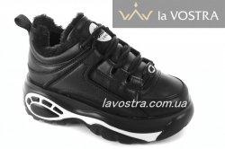 Кроссовки женские G-style 6785 (зимние, черный, эко-кожа)