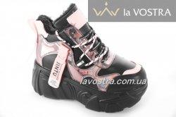 Кроссовки женские VEAGILA 6762 (зимние, черный, эко-кожа)