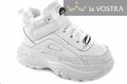Кроссовки женские G-style 6784 (зимние, белый, эко-кожа)