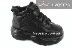Кроссовки женские G-style 6763 (зимние, черный, эко-кожа)