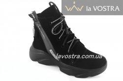 Ботинки женские Днепр 6780 (зимние, черный, замш)