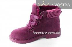 Ботинки женские Liao 2802 (зимние, бордовый, эко-замш)