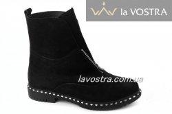 Ботинки женские Днепр 5260 (зимние, черный, замш)
