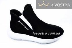Ботинки женские Fashion 6453 (весенне-осенние, черный, замш)