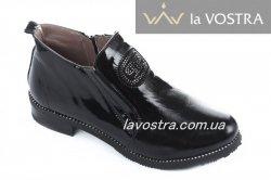 Ботинки женские Olevit T209л (весенне-осенние, черный, лак)