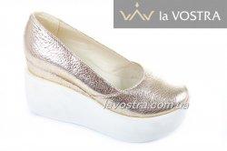 Туфли женские Днепр 4754 (весна-лето-осень, золото, кожа)