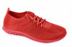 Мокасины женские  6485 (лето, красный, текстиль)