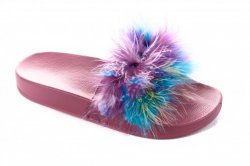 Шлепанцы женские Seastar 5998 (лето, розовый, перья)
