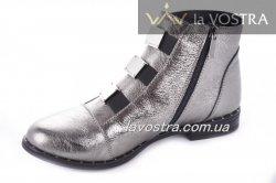 Ботинки женские Днепр 2757 (весенне-осенние, серебро, кожа)