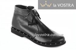 Ботинки женские Днепр 2727 (весенне-осенние, черный, кожа)